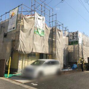 千葉県 外壁塗装 足場解体と同時に隣のお客様宅を足場組立しました (1)