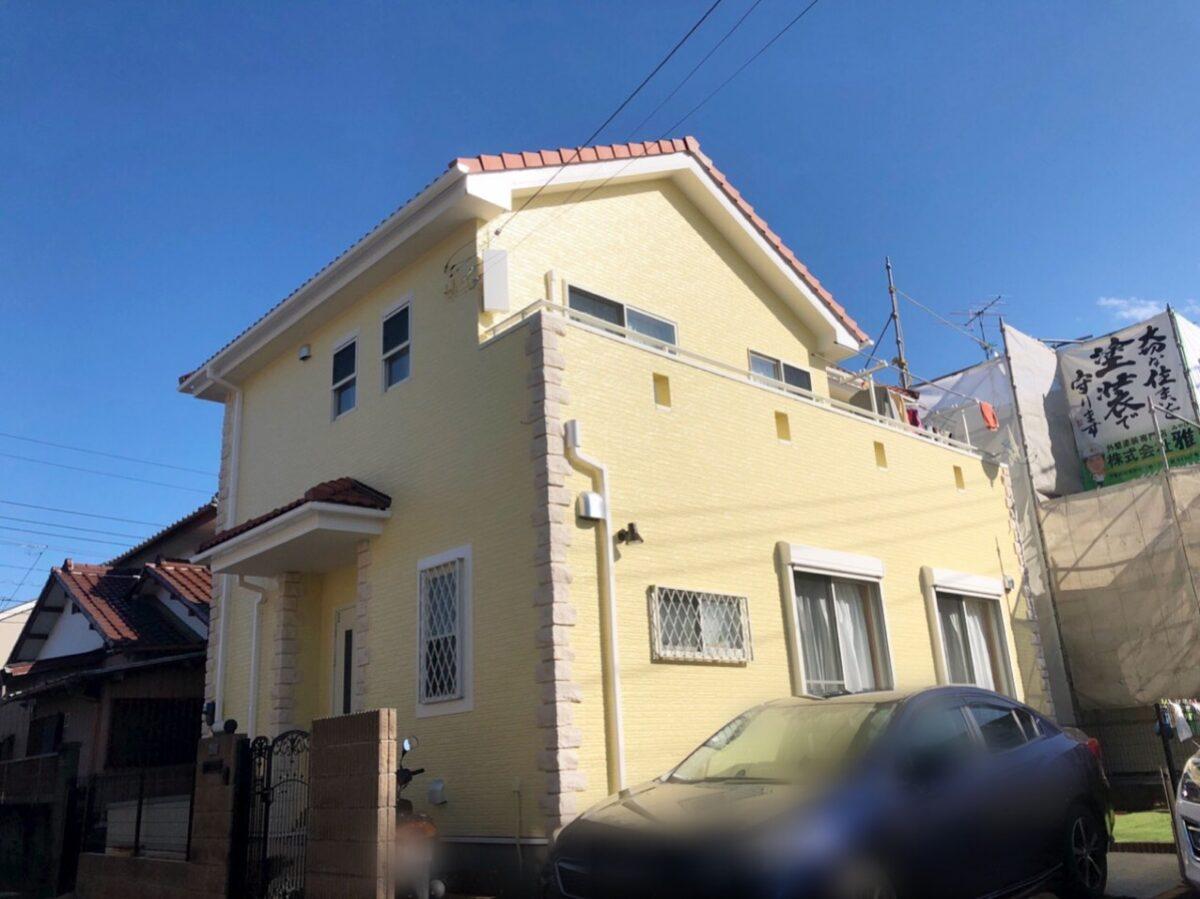 千葉県 外壁塗装 足場解体と同時に隣のお客様宅を足場組立しました (2)